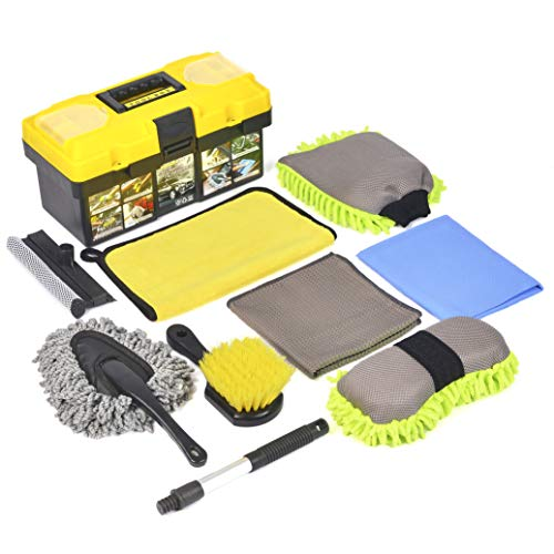 Konpard 9Pcs Car Wash Kit - Premium Chenille Microfiber Wash Mitt - wash Sponge - Tire Brush - Window Water Blade Brush with Tool Box