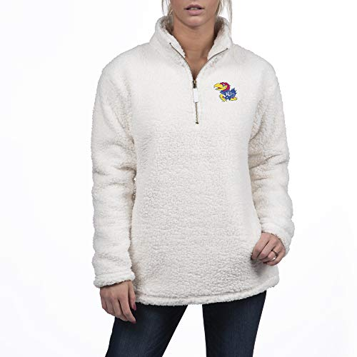 Top of the World Kansas Jayhawks Women's Sherpa Pullover Icon, Antique White, Large