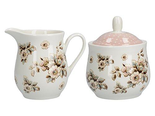 CREATIVE TOPS Zuckerdose und Milchkännchen aus Porzellan, von Katie Alice, Cottage-Stil, mit Blumenmotiv, Shabby Chic Landhaus, Blume