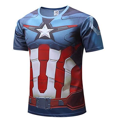 HOOLAZA Camiseta de compresión de Manga Corta para Hombre Super Heroes Avengers, Capitán América Tops