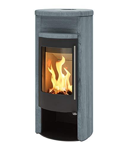 H&M Kamin-Ofen VIVO schwarz/Speck-Stein (ohne Einlege-Stein für Abgang oben) Holz-Ofen 7kw Heiz-Kamin speichert lange Wärme moderne Optik hoher Wirkungsgrad