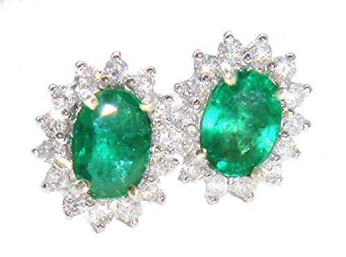 2.50ct Colombiano smeraldo e diamante orecchini in oro bianco 14K