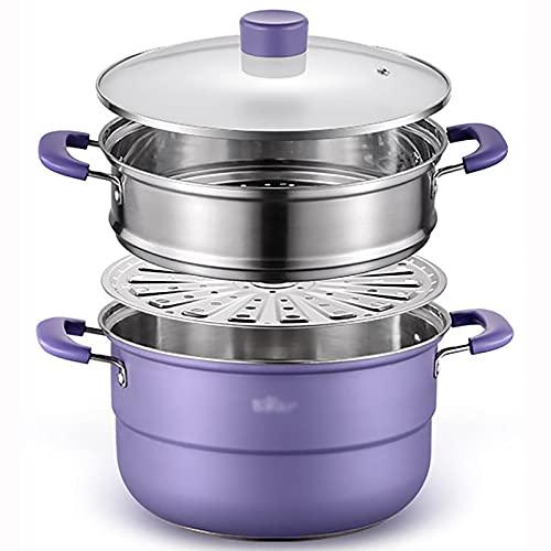 Steamer a 3 livelli con coperchio in vetro temperato, pentola di zuppa di acciaio inox per la cottura, pentola set pentole, piano cottura, adatto per fornello a induzione stufa a gas ( Size : 28cm )