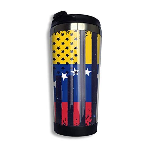 Taza de café de la bandera americana de Venezuela con tapa para el té, café, viaje, taza de café, acero inoxidable, 400 ml