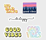 Good Vibes Be Happy No Bad Days #1 Vinyl Decal Sticker Pack of 5 for Laptop - Water Bottle - Cars,SUV and Bikes