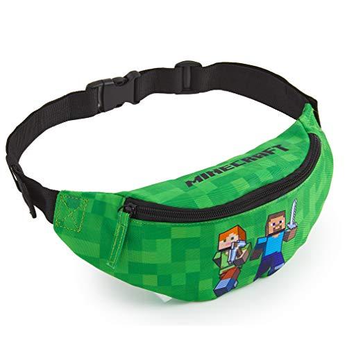 Minecraft Bauchtasche Kinder, Grüne Gürteltasche Kinder mit Verstellbarem Gürtel, Hüfttasche Ideal für Urlaub, Schule, Outdoor Bauchtasche Jungen, Videospieler Geschenke für Kinder
