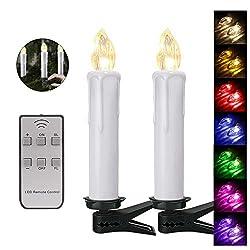 20er Weinachten LED Kerzen Kabellos RGB Weihnachtskerzen Christbaumkerzen Dimmen Flackern Baumkerze-Set,LED-Lichtfarbe RGB + warmweiß