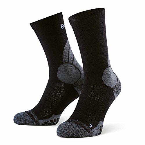 Eono Essentials Wander-und Trekking-Socken für Damen und Herren (2er-Pack), Merinowolle, Schwarz, EU 35-38