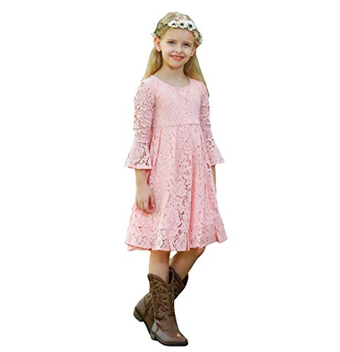 Bow Dream Girls Lace Flower Dress Casual Crew Neck Floral A-Line Party Dress Blush 6
