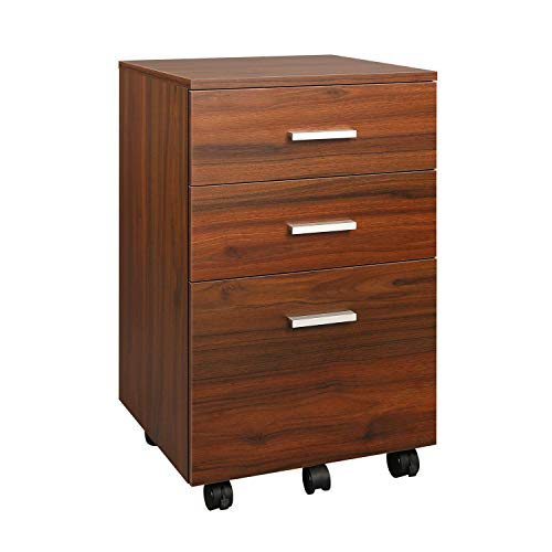DEVAISE 3 Drawer Mobile File Cabinet, Wood Filing Cabinet fits A4 or Letter Size for Home Office, Walnut