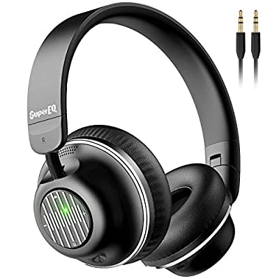 Active Noise Cancelling Headphones, SuperEQ S2 Bluetooth Headphones On Ear with Mic CVC 8.0, Hi-Fi Deep Bass, Voice Assistant, 25H Playtime, Foldable Wireless & Wired Headphones(Black) from SuperEQ