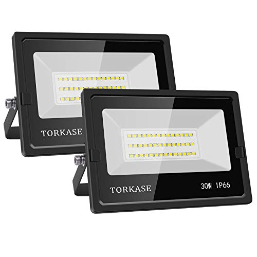 Torkase 30W LED Flood Light Outdoor, 5000-Kelvin Daylight White, Super Bright 3000LM, IP66 Waterproof Exterior Wall Wash Security Lights for Backyard, Garden, Garage, Playground, Court, 2-Pack
