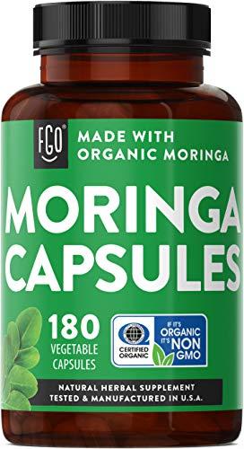 Organic Moringa Oleifera Leaf Powder | Lab Tested for Purity | Manufactured in USA | 180 Veggie Capsules | by FGO