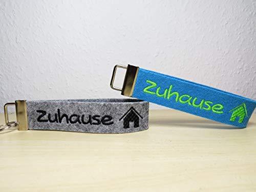 Schlüsselanhänger mit Personalisierung - individuell bestickt - Geschenk - Schlüsselband - Zuhause - G