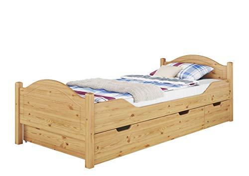 Erst-Holz® Massivholz-Bett Kiefer Natur 100x200 Einzelbett Rollrost Matratze Bettkasten 60.30-10MS4