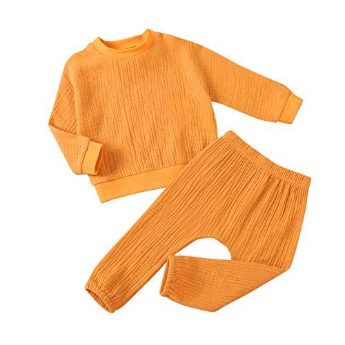 Bebé Niñas Algodón Lino Manga Larga Sólido Volantes Tops+ Sólido Elástica Cuidado de la Piel Pantalones Trajes 6M-3Y