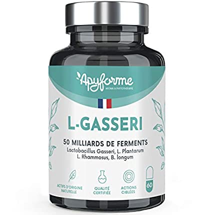 Probióticos Adelgazamiento Lactobacillus Gasseri - 50 Mil Millones de UFC (2 g/d) - Células Gastrorresistentes - 30 Días 60 Geles - Fabricado en Francia por Apyforme