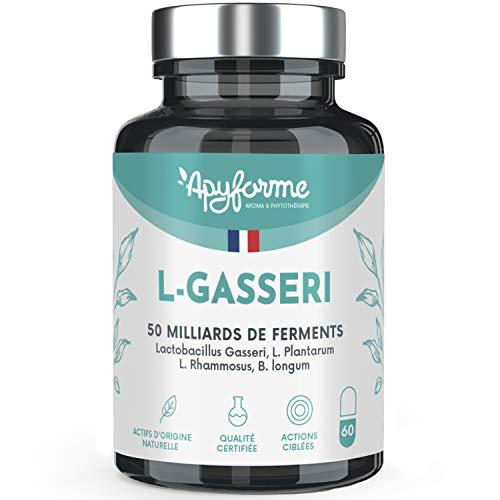 Probióticos Adelgazamiento Lactobacillus Gasseri - 50 Mil Millones de UFC (2 g d) - Células Gastrorresistentes - 30 Días 60 Geles - Fabricado en Francia por Apyforme