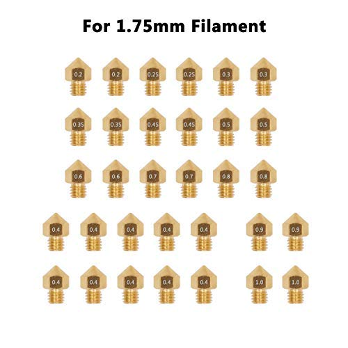 WINSINN Brass MK8 Nozzle 0.4mm, Works with Creality Ender 3 5 CR10 CR-10 CR10 Anet A8 for 3D Printer Hotend Extruder - 0.2mm 0.3mm 0.4mm 0.45mm 0.5mm 0.6mm 0.7mm 0.8mm 0.9mm 1.0mm (Pack of 32Pcs)