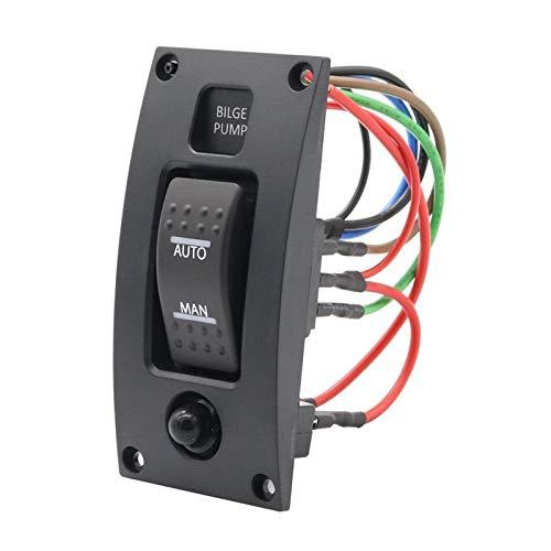 PREPP 12-24V Interruptor de Bomba de sentina Alarma Abarca a Prueba de Agua Panel de Control de la Limpieza de la Cubierta Ajuste para Las Bombas de biela de Bote ON/Off/ON (Color : Black)