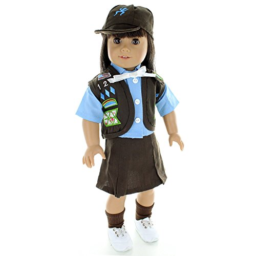 Pink Butterfly Closet Doll Clothes - Brownies Scout Uniform Outfit Fits American Girl Doll and Other 18 inch Dolls