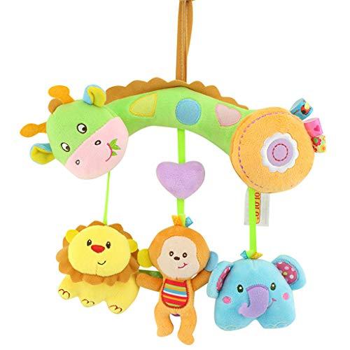 Poupées molles de peluche colorées pour Bébé Nouveau-né, Jouets mous de développement de hochets de Handbells, Mobile musical de lit