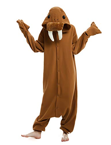 cosMonsters Unisex Walrus Halloween Costume Adult Onesie Pajamas for Women and Men-Plush One Piece Halloween Cosplay Animal Costume (Walrus,Large)
