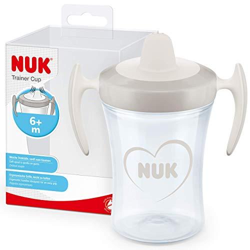 NUK Trainer Cup Trinklernbecher | auslaufsicherer Becher mit weichem Trinkschnabel & ergonomischen Griffen | 6+ Monate | BPA-frei | 230 ml | Herz (neutral)