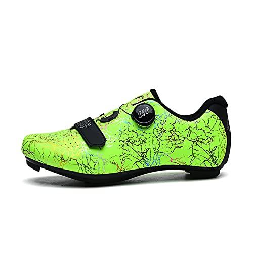 JXHYKJ Zapatos de Ciclismo, Bicicletas de Carretera Zapatos de Bicicleta Zapatos de Bicicleta Bicicletas de montaña Zapatos de Hilado Soles Duros (Color : Green, Size : 45 EU)