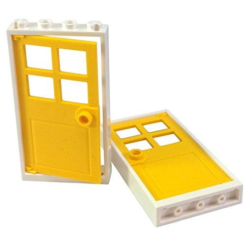 LEGO Bricks–Rahmen mit Tür (2Stück, 1x 4x 6), weiß und gelb