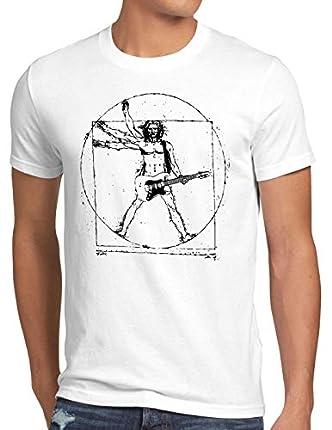 style3 Da Vinci Rock Camiseta para Hombre T-Shirt música Festival, Talla:L, Color:Blanco