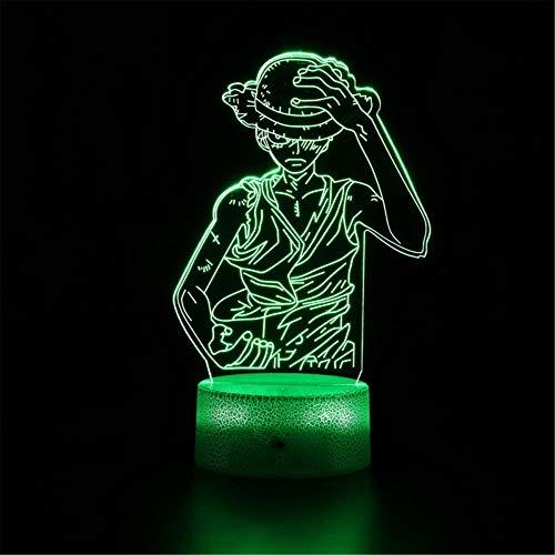 Lámpara de ilusión óptica 3D 3D Luz de noche de una sola pieza Monkey D. Luffy B 16 Cambio de color Lámpara de decoración – Regalo perfecto para niños y decoración de habitación