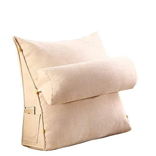 FYJK Respaldo Grande Almohada de Descanso de Cama de Lectura con Brazos, Almohada de Lectura Soporte Lumbar, Espuma de Memoria de Felpa Relleno de Bolsillo,Blanco,60 * 50 * 20
