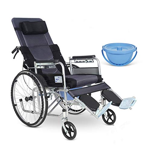 Bathroom Wheelchairs High Back Reclining Commode Shower Chair, Foldable Toilet Chair with PU Cushion Transport Chair Portable Wheel for Elder Disabled (Black)