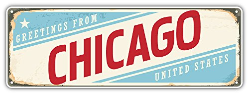 SkyBug Chicago City USA Retro Sign Travel Bumper Sticker Vinyl Art Decal for Car Truck Van Window Bike Laptop