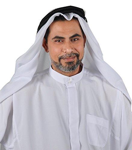 Egypt Bazar Traditionelle Arabische Kopfbedeckung Scheich - Araber Kopftuch- Karnevalskostüm/Farbe: Weiss