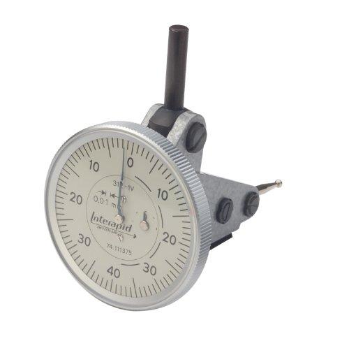 Brown & Sharpe TESA 74.111375 Interapid 312 Dial Test Indicator, Vertical Type, M1.7x4 Thread, 4mm Stem Dia., White Dial, 0-40-0 Reading, 35.5mm Dial Dia., 0-0.6mm Range, 0.01mm Graduation, +/-0.01mm Accuracy