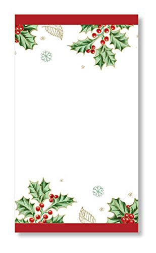 Lenox Holiday Holly Branch Disposable Table Napkins and Guest Towels, 4.75'' W x 8'' L, 16pcs