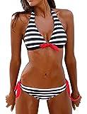 Voqeen Mujer Bikini Rayas Cabestro Traje de baño Acolchado Ropa de Playa de Dos Piezas
