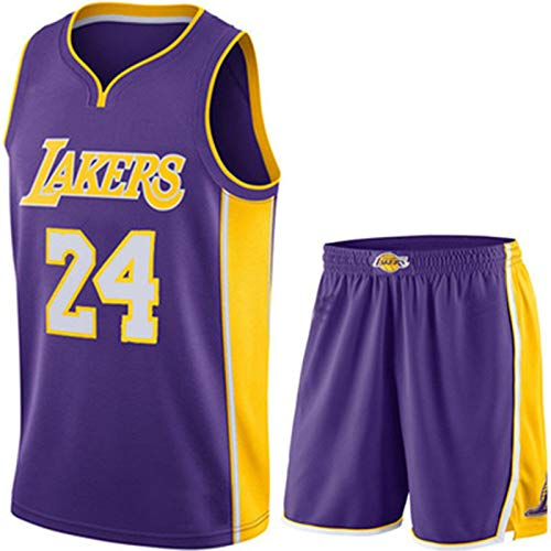 DYJXIGO Herren-Basketball-Trikots Set-Top + Shorts # 24 Bryant Lakers, Ärmel Sports Jersey-T-Shirt Fans Shirts Purple- 2XS