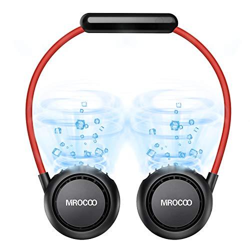 MIROCOO USB Ventilator, Mini Ventilator, Wiederaufladbarer Tragbarer Ventilator, Anti-Haarnadel Nackenventilator mit Bügel für Den Nacken, 3 Geschwindigkeiten für Outdoor, Sport (Schwarz)