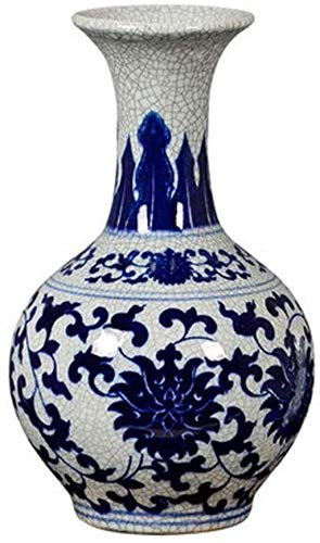 JHDDHP3 Jarrón cerámico artesanía Hecha a Mano de la Porcelana Azul y Blanca se Puede Colocar en la decoración de la mesita de Noche del gabinete del televisor (18 * 31 cm).