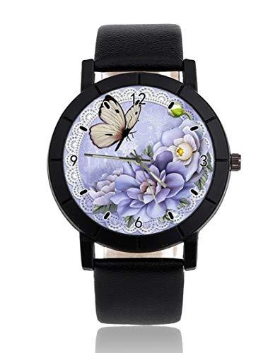 Reloj de pulsera unisex con correa de piel negra, diseño de mariposa...