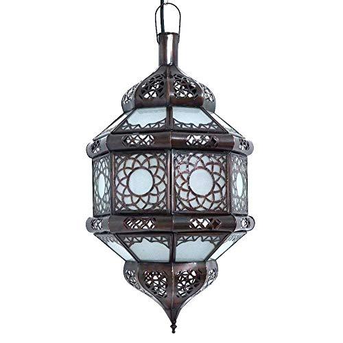 Lámpara de techo marroquí de cristal blanco árabe oriental de metal marrón 45 cm vintage marroquí árabe oriental hecho a mano