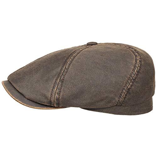 Stetson Brooklin Old Cotton Flatcap braun Herren - Schiebermütze im Used Look - Cap mit UV-Schutz 40+ - Schirmmütze mit Baumwolle - Herrenmütze Größe S 54-55 cm - Flat Cap/Mütze Frühjahr/Sommer