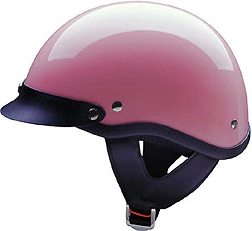 HCI Gloss Pink Motorcycle Half Helmet with Visor - ABS Shell 100-117 (Large)