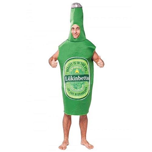 Unisex Beer Bottle Costume for Food Drink Oktoberfest Fancy Dress Outfit Adult Adult - One Size