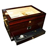 Best Cigar Humidors - EWT High Gloss 100CT Cigar Humidors with Drawer Review