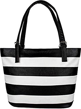 Fiona Trends Women's PU Leather Handbag (White and Black)