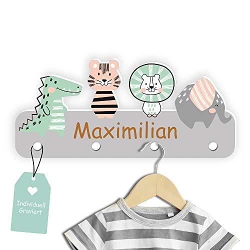 Kindsblick Garderobe mit Wunschname - Personalisierte Kindergarderobe mit 4 Kleiderhaken für Kinder (Junglefreunde - Grau)